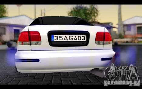 Honda Civic 1.6 для GTA San Andreas вид изнутри
