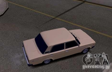 ВАЗ 2107 KBR для GTA San Andreas вид изнутри