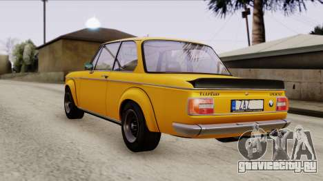BMW 2002 Turbo 1973 Stock для GTA San Andreas вид сзади слева