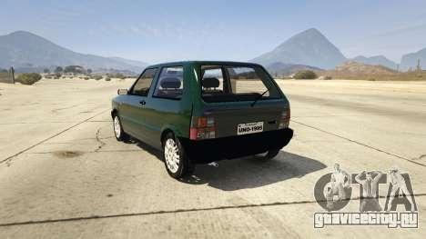 Fiat Uno 1995 для GTA 5 вид сзади слева