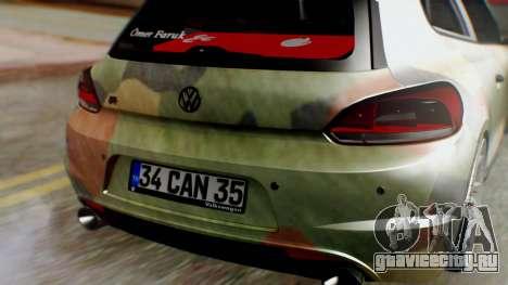 Volkswagen Scirocco R Army Edition для GTA San Andreas вид сзади