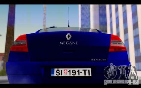 Renault Megane Sedan для GTA San Andreas вид изнутри