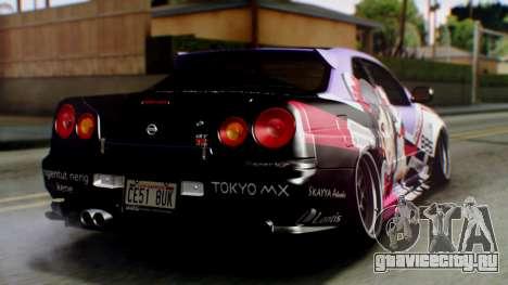 Nissan Skyline R34 Stance Nico Yazawa Itasha для GTA San Andreas вид слева
