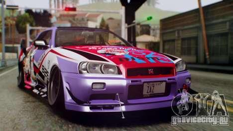 Nissan Skyline R34 Stance Nico Yazawa Itasha для GTA San Andreas вид сзади слева
