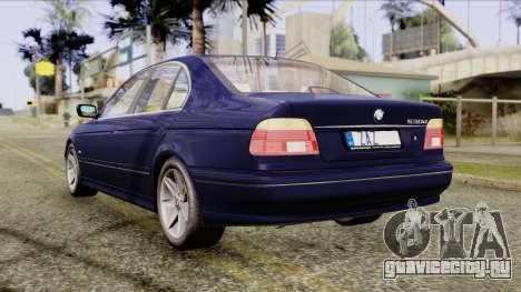 BMW 530D E39 2001 Stock для GTA San Andreas вид сзади слева
