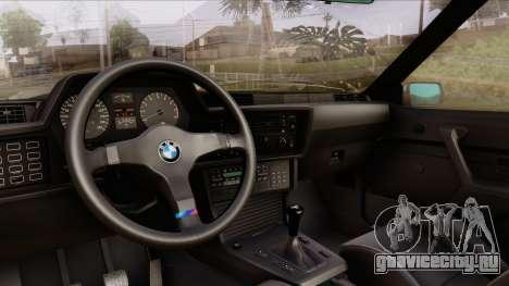 BMW M635 E24 CSi 1984 Stock для GTA San Andreas вид сзади