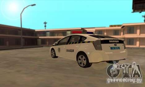 Toyota Prius Полиция Украины для GTA San Andreas вид сзади слева