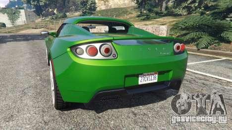 Tesla Roadster Sport 2011 для GTA 5 вид сзади слева