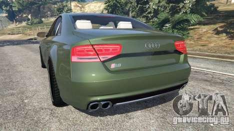 Audi S8 Quattro 2013 v1.2 для GTA 5 вид сзади слева