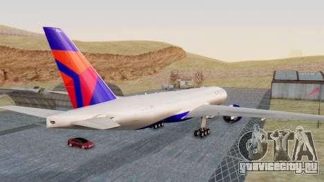 Boeing 777-200LR Delta Air Lines для GTA San Andreas вид сзади слева