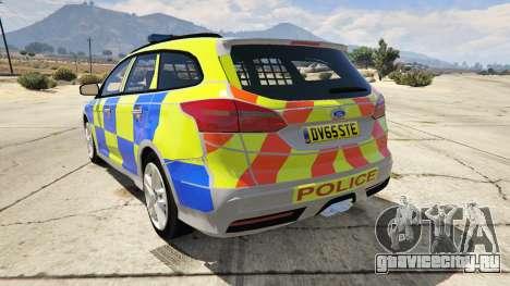 2015 Police Ford Focus ST Estate для GTA 5 вид сзади слева