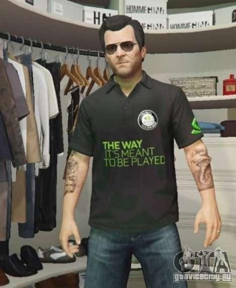 Рубашка поло Nvidia для Майкла для GTA 5 третий скриншот