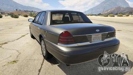 Ford Crown Victoria Detective для GTA 5 вид сзади слева