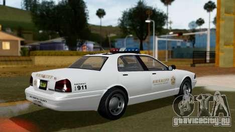 GTA 5 Vapid Stanier II Sheriff Cruiser для GTA San Andreas вид слева