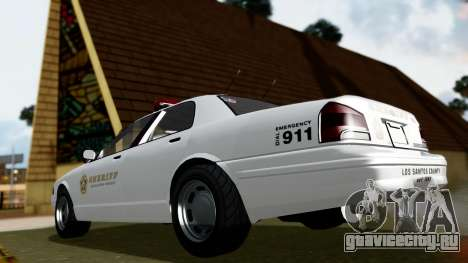 GTA 5 Vapid Stanier II Sheriff Cruiser для GTA San Andreas вид сзади слева