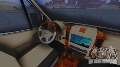 Volkswagen Crafter 2015 для GTA San Andreas вид изнутри
