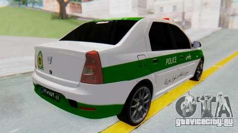 Dacia Logan Iranian Police Naja для GTA San Andreas вид сзади слева