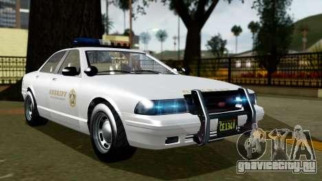 GTA 5 Vapid Stanier II Sheriff Cruiser для GTA San Andreas