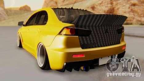 Mitsubishi Lancer Evolution X Stance для GTA San Andreas вид сзади слева
