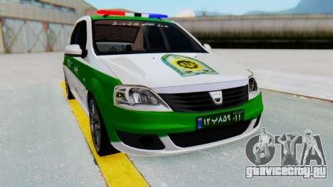 Dacia Logan Iranian Police Naja для GTA San Andreas вид справа