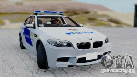 BMW M5 F10 Hungarian Police Car для GTA San Andreas вид сзади