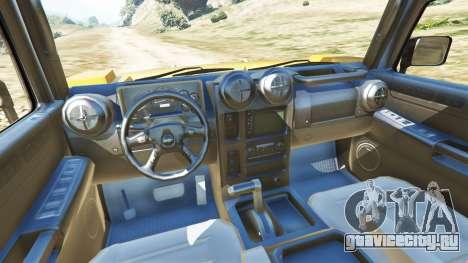 Hummer H2 6x6 v2.0 для GTA 5 вид сзади справа