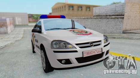 Opel Corsa C Policia для GTA San Andreas вид справа