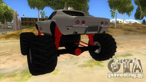 1968 Chevrolet Corvette Stingray Monster Truck для GTA San Andreas вид сзади слева