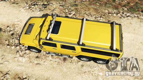 Hummer H2 6x6 v2.0 для GTA 5 вид сзади