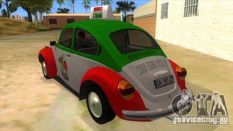 Volkswagen Beetle Pizza для GTA San Andreas вид сзади слева