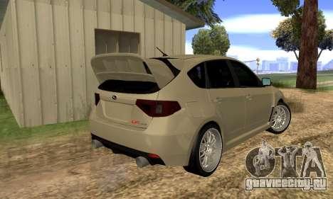 Subaru Impreza WRX STI 2008 LPcars v.1.0 для GTA San Andreas вид сзади слева