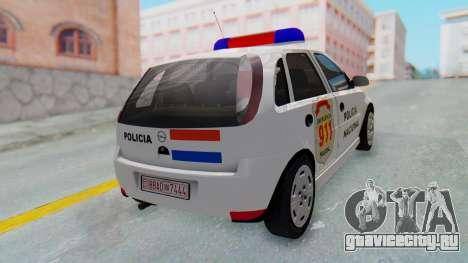 Opel Corsa C Policia для GTA San Andreas вид сзади слева