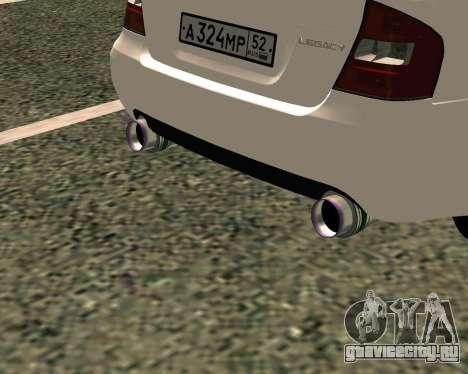 Subaru Legacy для GTA San Andreas вид сзади