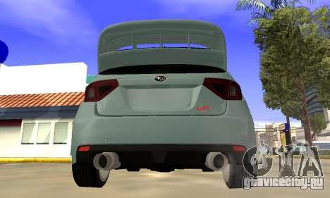 Subaru Impreza WRX STI 2008 LPcars v.1.0 для GTA San Andreas вид справа