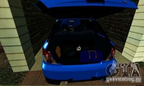 Subaru Impreza WRX STi Wagon 2003 для GTA San Andreas вид изнутри