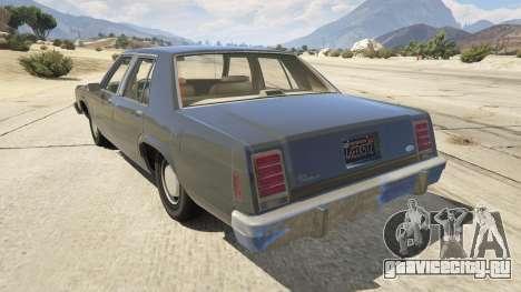 1987 Ford LTD Crown Victoria для GTA 5 вид сзади слева