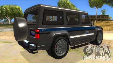 Benefactor Dubsta Jurassic World Security для GTA San Andreas вид справа