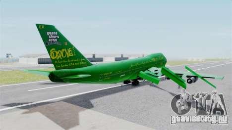 Boeing 747-100 Grove Street для GTA San Andreas вид слева