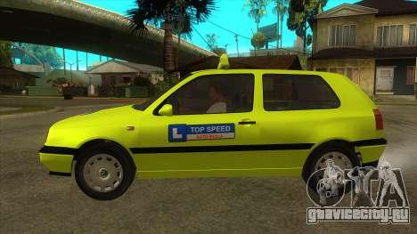 VW Golf Mk3 Top Speed Auto Skola для GTA San Andreas вид слева