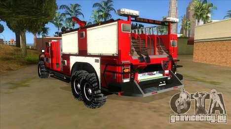 HUMMER H2 Firetruck для GTA San Andreas вид сзади слева