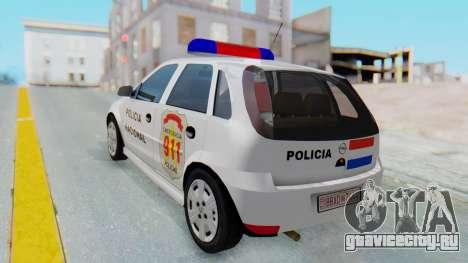 Opel Corsa C Policia для GTA San Andreas вид слева