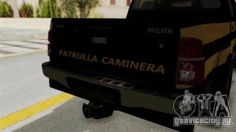 Toyota Hilux 2015 Patrulla Caminera Paraguaya для GTA San Andreas вид сзади