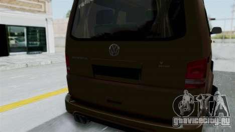 Volkswagen Transporter TDI Final для GTA San Andreas вид изнутри