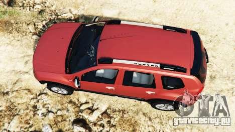 Dacia Duster 2014 для GTA 5 вид сзади