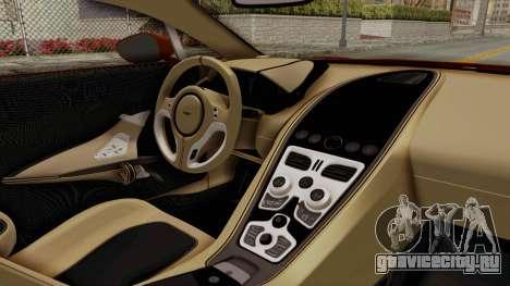 Aston Martin One-77 2010 Autovista Interior для GTA San Andreas вид справа