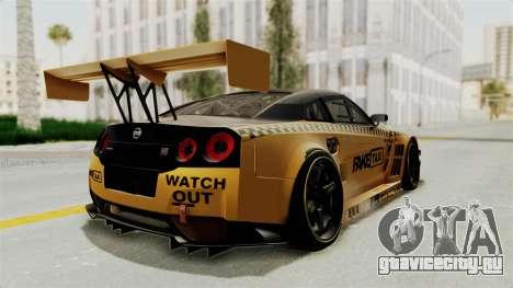 Nissan GT-R Fake Taxi для GTA San Andreas вид справа