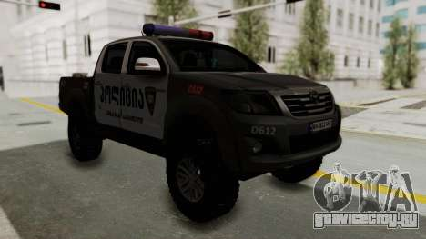 Toyota Hilux 4WD 2015 Georgia Police для GTA San Andreas вид справа