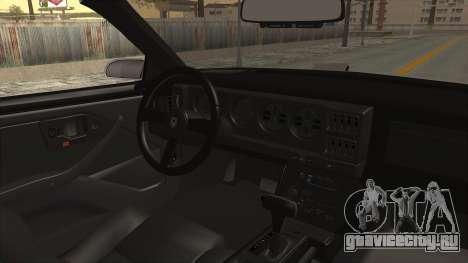 Pontiac Firebird Trans Am Monster Truck 1982 для GTA San Andreas вид изнутри
