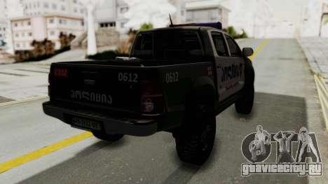 Toyota Hilux 4WD 2015 Georgia Police для GTA San Andreas вид сзади слева