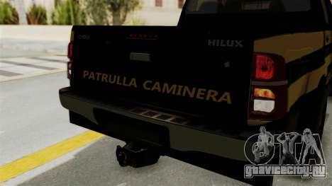 Toyota Hilux 2015 Patrulla Caminera Paraguaya для GTA San Andreas вид изнутри